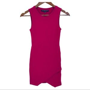TOPSHOP Red/Pink Asymetrical Bodycon Dress Petite